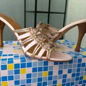 Sandals Strappy White & Metallic Heels